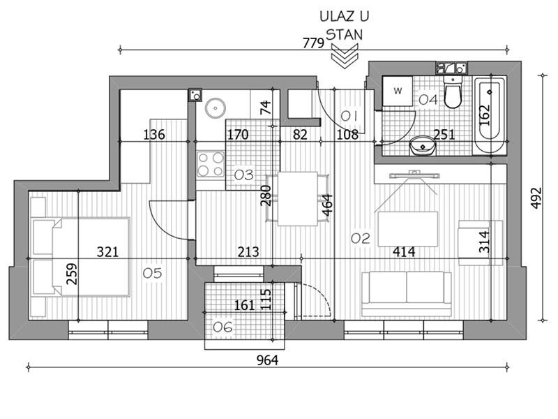 Dvosoban stan površine 39,59m2